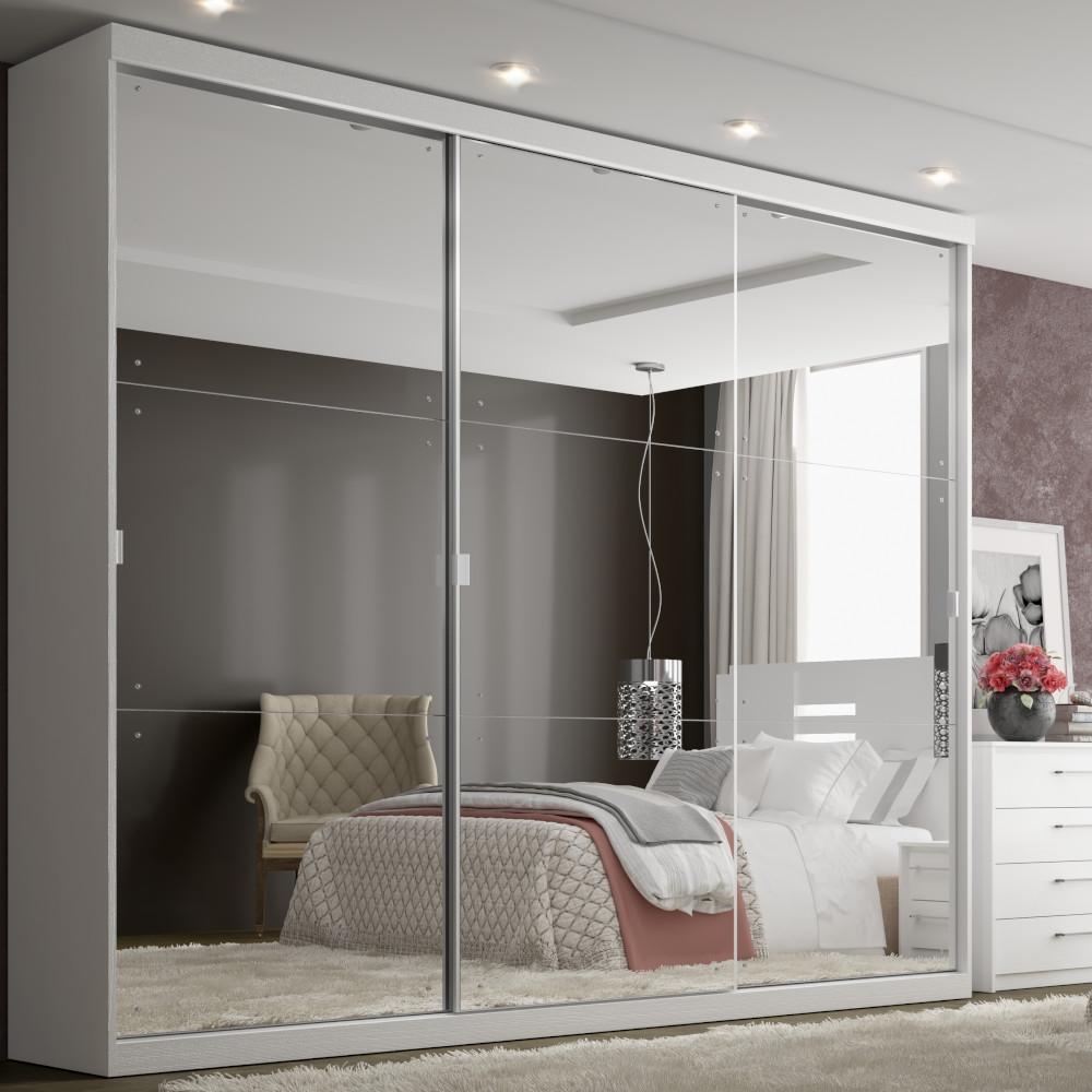 Guarda-Roupa Casal THB Mirage Glass 3 Portas de Correr e 4 Gavetas - Branco Sensitive