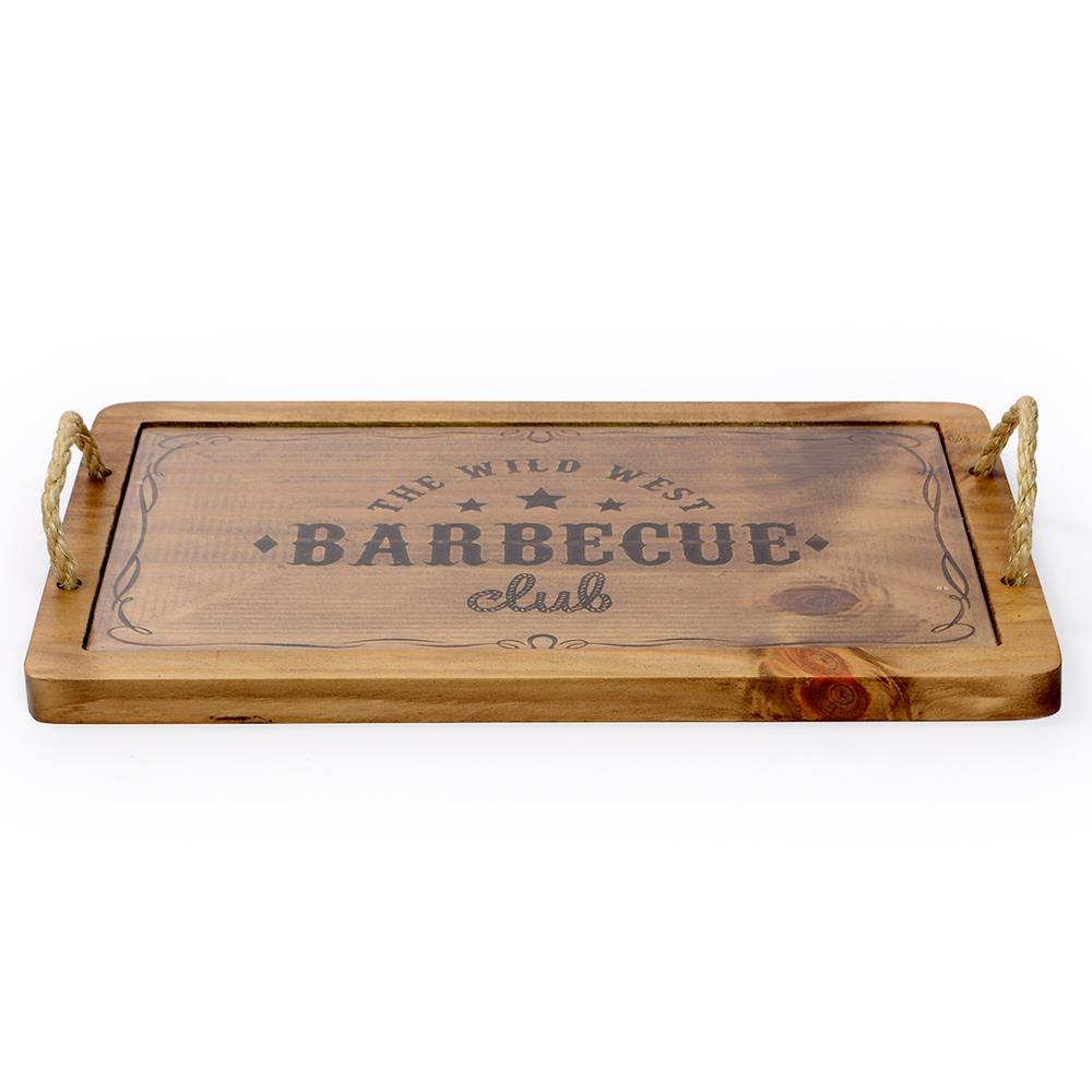 Tábua de Carne Home Glass Barbecue Madeira e Vidro 40x25cm