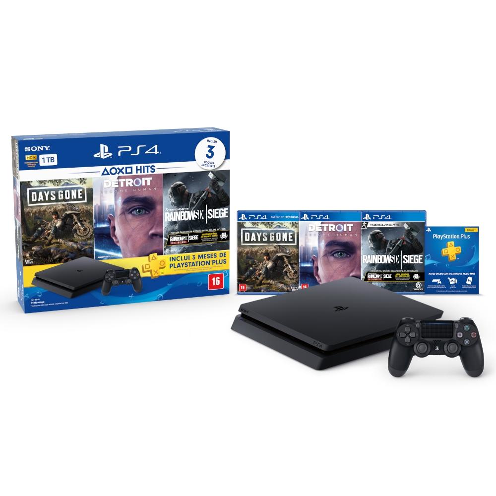 Oferta Console Sony PlayStation 4 Slim 1TB Hits Bundle 5 com Voucher PS Plus + 1 Dualshock 4 por R$ 2249.91