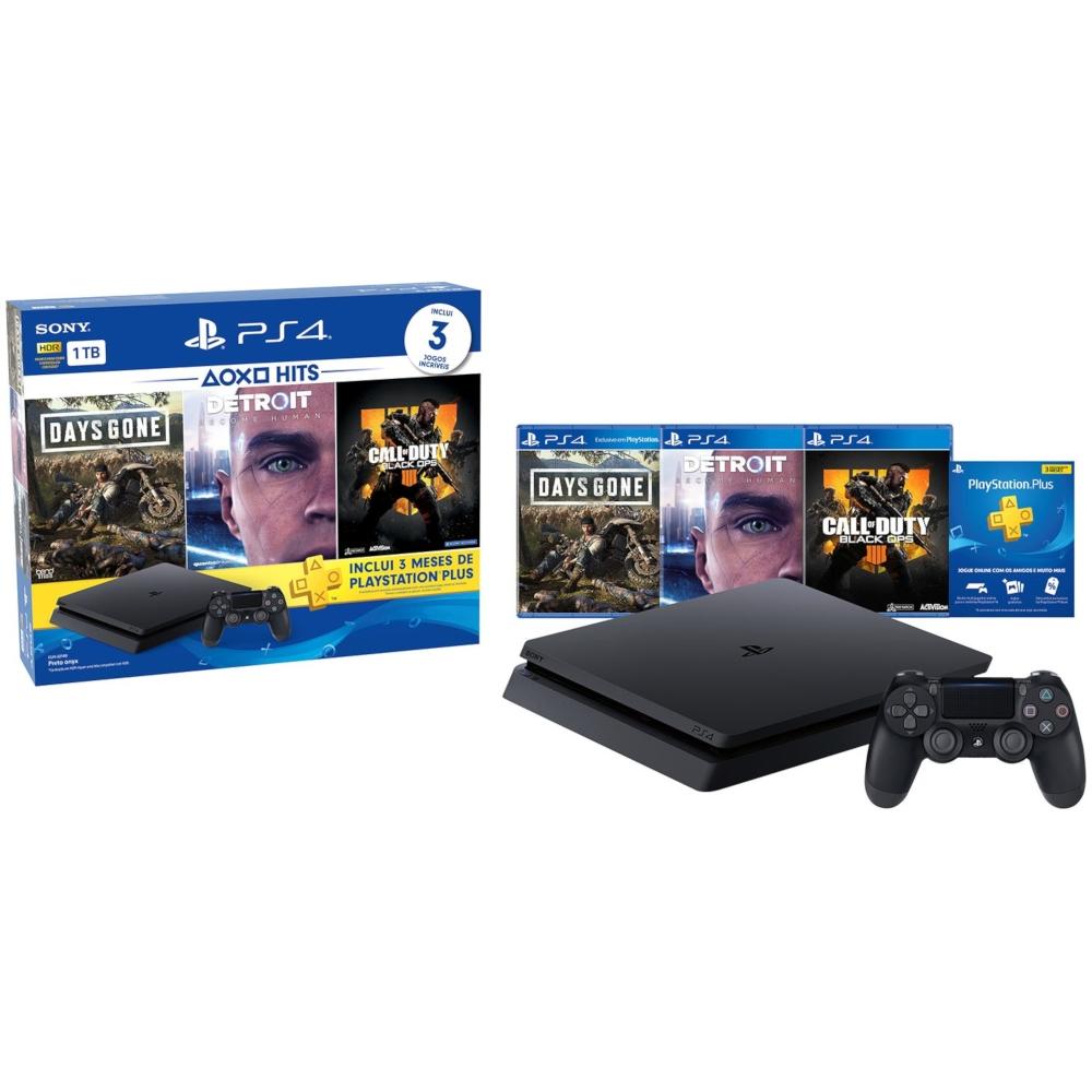 Oferta Console Sony PlayStation 4 Slim 1TB Hits Bundle 5.1 com Voucher PS Plus + 1 Dualshock 4 por R$ 2391.21