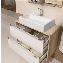 Gabinete para Banheiro Suspenso com Espelheira Nicho e Cuba Balcony Ravena 80cm