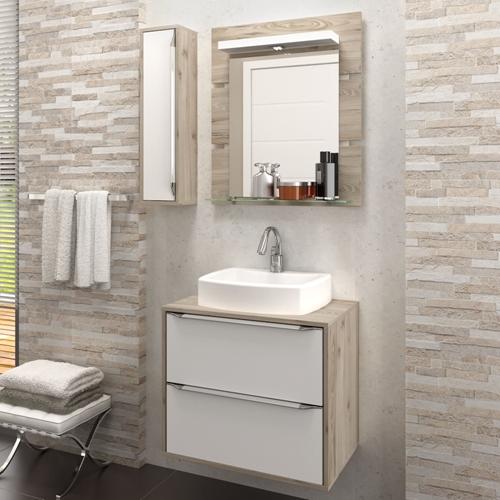 Gabinete Para Banheiro Suspenso Com Espelheira Nicho E