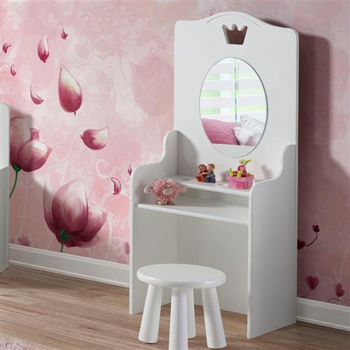 64fcc8273e Penteadeira New Design Cinderela com Banquinho Espelho e 2 Prateleiras