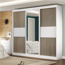 759f87bf680 Guarda-Roupa Manto Móveis Sublime 3 Portas de Correr com Espelho e 4 Gavetas