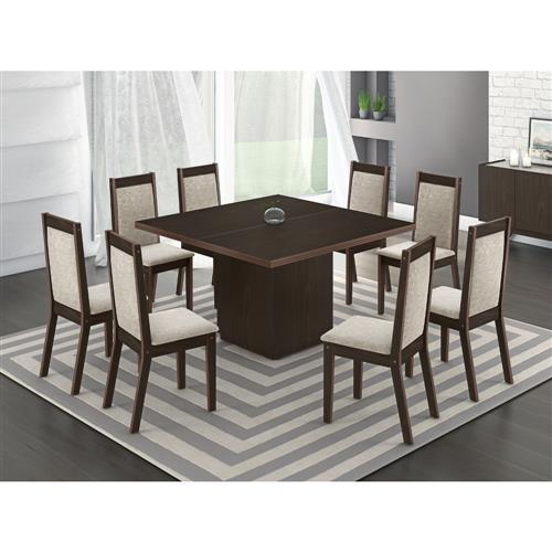 Conjunto de Mesa Chile Mobisul com 8 Cadeiras - Amendoa
