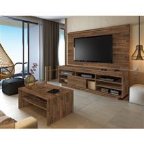 Sala de Estar Completa Artely com 3 Peças Rack Treviso + Mesa de Centro Austin + Painel Slim - Rústico