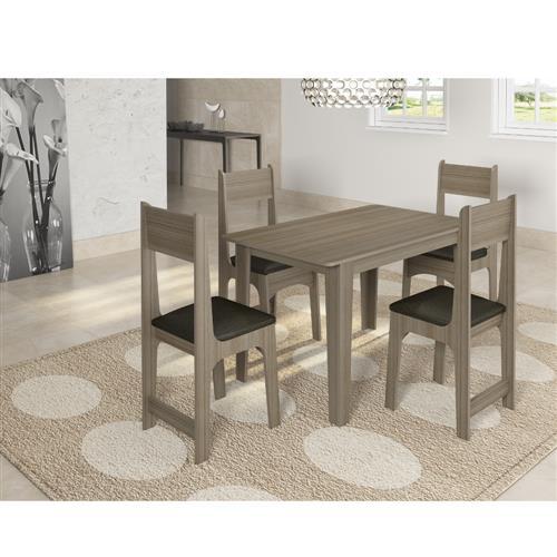 Conjunto de Mesa Sonetto Nicoli 110x68 cm com 4 Cadeiras Cinza London Preto