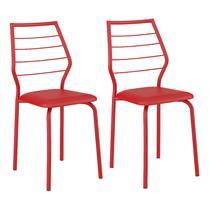 Conjunto 2 Cadeiras Carraro 1716 - Vermelho / Napa Vermelho