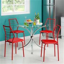 Conjunto de Mesa Carraro 375 + 4 Cadeiras 1716 - Cromado / Napa Vermelho Real