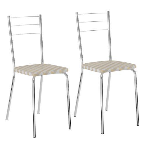 Conjunto 2 Cadeiras Carraro 1703 - Cromado / Tecido Retrô Metalizado