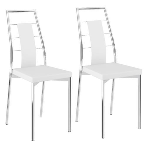 Conjunto 2 Cadeiras Carraro 1718 - Cromado/Couríssimo Branco