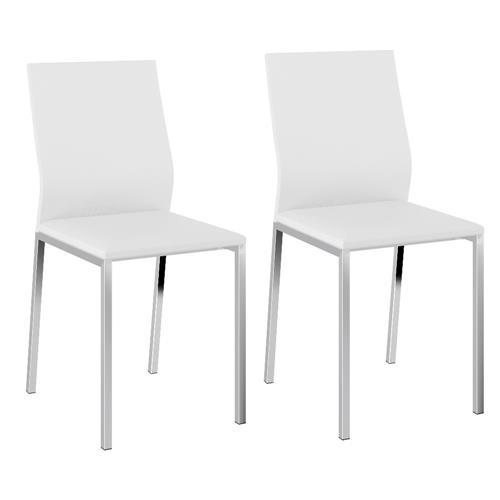 Conjunto 2 Cadeiras Carraro 1804 Cromado - Couríssimo Branco