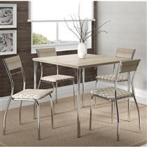 Conjunto de Mesa Carraro 1545 + 4 Cadeiras 1721 em  Aço Cromado - Retrô Metalizado/Anis