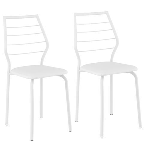 Conjunto 2 Cadeiras Carraro 1716 - Branco/Napa Branco
