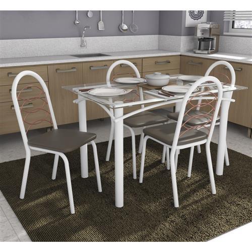 Conjunto Kappesberg Crome Mesa Elba M004 com 4 Cadeiras Holanda
