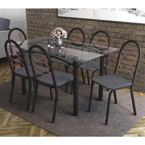 Conjunto Kappesberg Crome Mesa Elba Tampo de Vidro com 6 Cadeiras Holanda