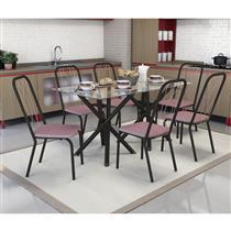 Conjunto Kappesberg Crome Mesa Volga Tampo de Vidro com 6 Cadeiras Viena