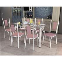 Conjunto Kappesberg Crome Mesa Nilo Tampo de Vidro com 6 Cadeiras Florença Branco Fosco