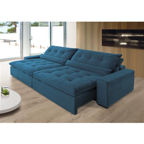 Sofá Anjos Confortable Bipartido 248 cm 3 Lugares Encosto Reclinável e Assento Retrátil – Veludo