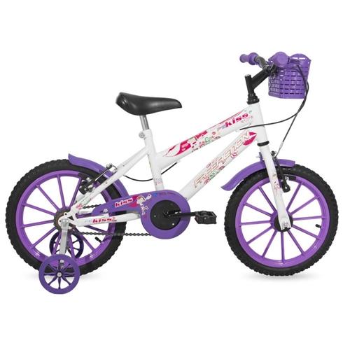 Bicicleta Free Action Kiss Aro 16 Rígida 1 Marcha - Branco/violeta