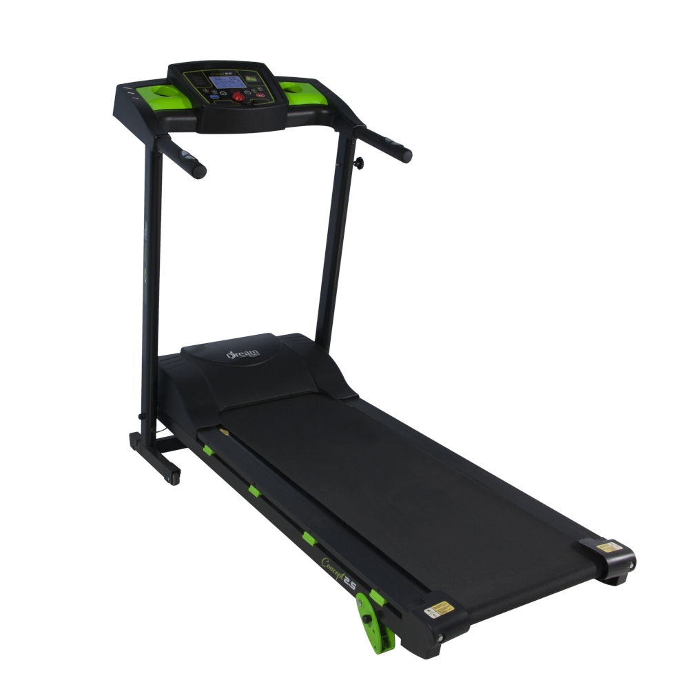Esteira Eletrônica Dream Fitness Concept 2.5 Monitor 6 Funções com 3 Níveis de Inclinação Preto/Verde - Bivolt